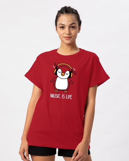 Shop Headphone Penguin Boyfriend T-Shirt-Front