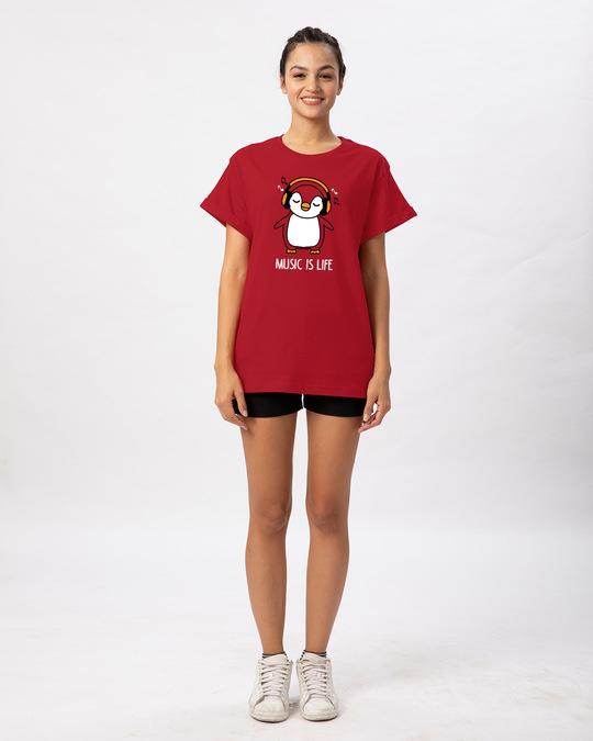 Shop Headphone Penguin Boyfriend T-Shirt-Full