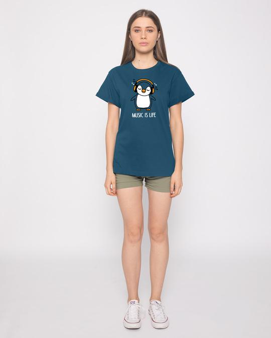 Shop Headphone Penguin Boyfriend T-Shirt