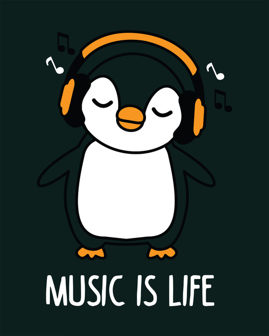 Shop Headphone Penguin Full Sleeve T-Shirt