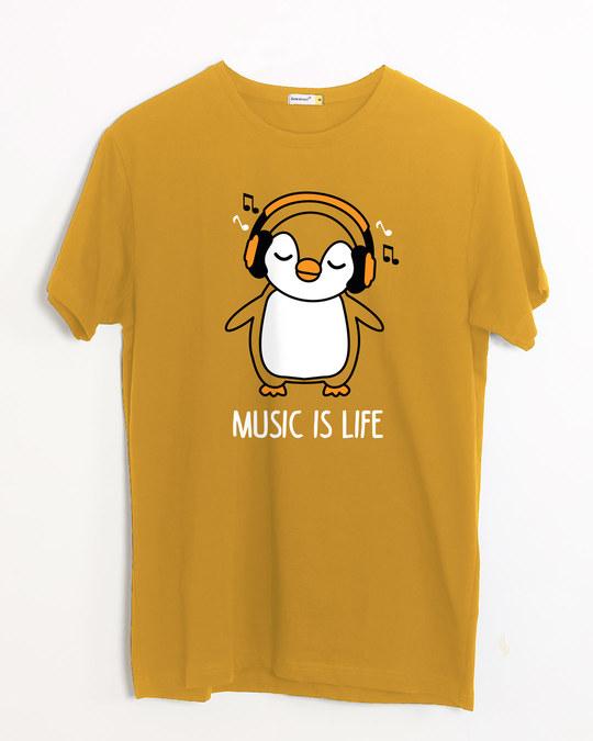 Shop Headphone Penguin Half Sleeve T-Shirt-Front