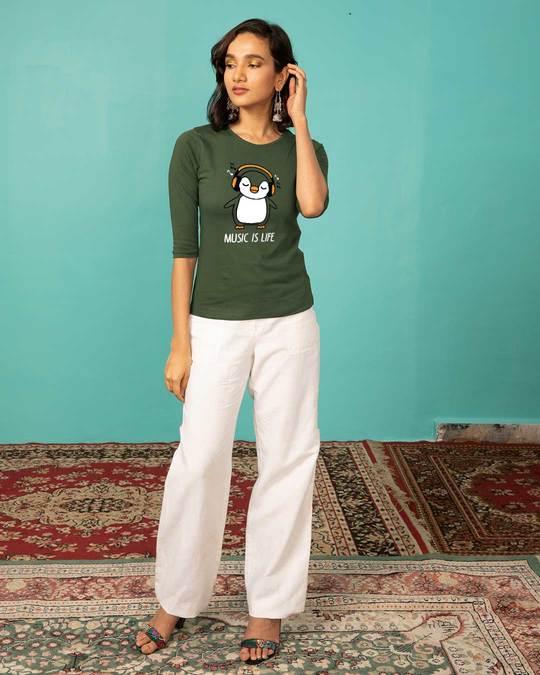 Shop Headphone Penguin Round Neck 3/4th Sleeve T-Shirt-Full