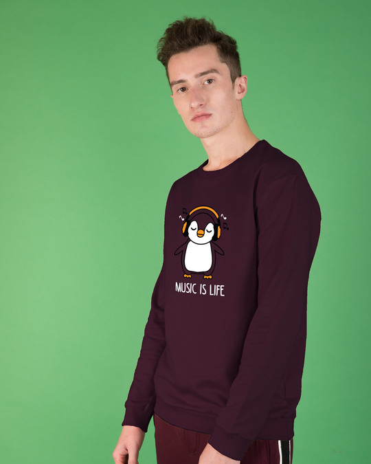Shop Headphone Penguin Fleece Sweater-Back