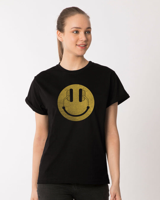 Shop Headphone Smiley Boyfriend T-Shirt-Front