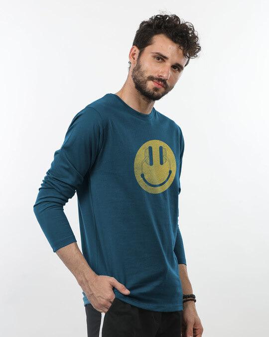 Shop Headphone Smiley Full Sleeve T-Shirt-Back