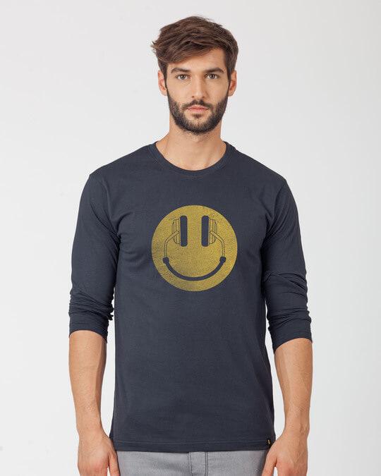 Shop Headphone Smiley Full Sleeve T-Shirt-Front