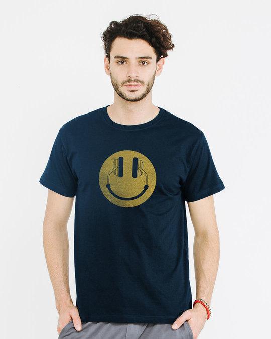Shop Headphone Smiley Half Sleeve T-Shirt-Back