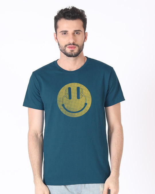 Shop Headphone Smiley Half Sleeve T-Shirt-Back