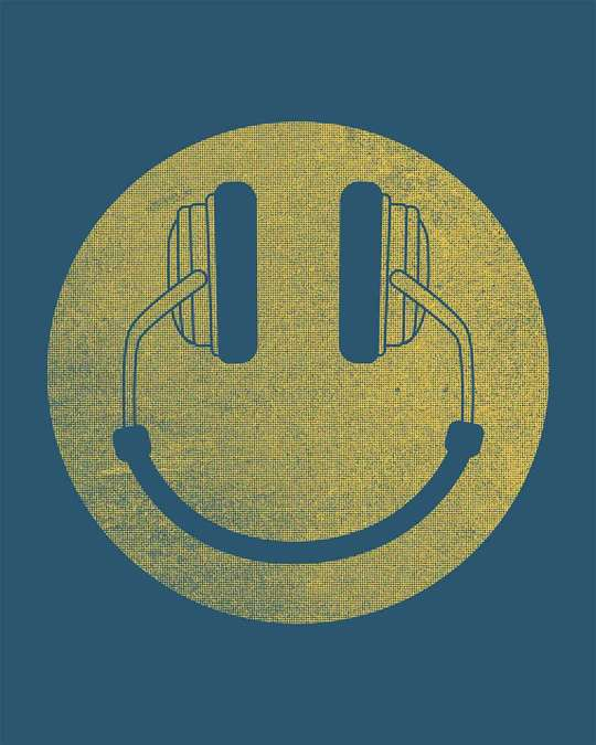 Shop Headphone Smiley Half Sleeve T-Shirt