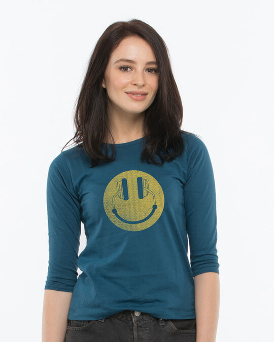 Shop Headphone Smiley Round Neck 3/4th Sleeve T-Shirt-Front