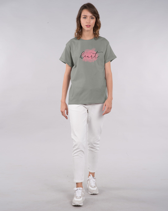 Shop Heart Watercolor Boyfriend T-Shirt