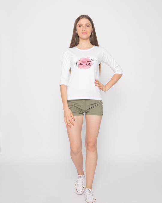 Shop Heart Watercolor Round Neck 3/4th Sleeve T-Shirt-Design
