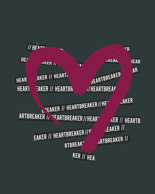 Shop Heartbreaker Round Neck Crop Top T-Shirt-Full
