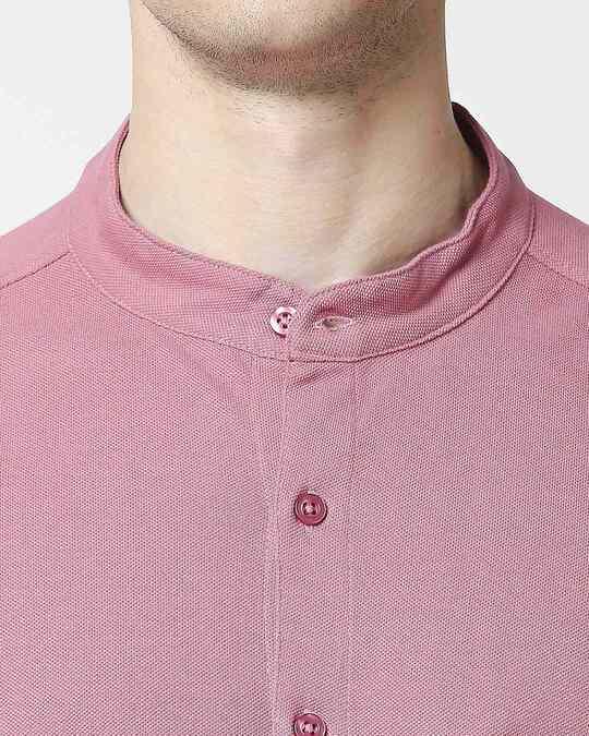 Shop Heather Rose Mandarin Collar Half Sleeve Shirt