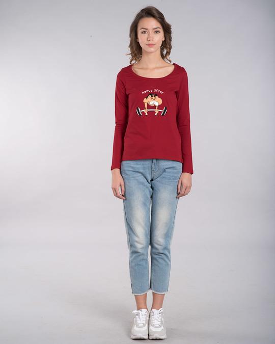 Shop Heavy Lifter Shinchan Scoop Neck Full Sleeve T-Shirt (SHL)-Design