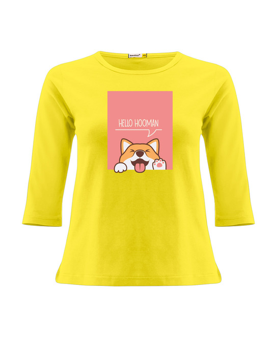 Shop Hello Hooman Round Neck 3/4 Sleeve T-Shirts Pineapple Yellow -Front