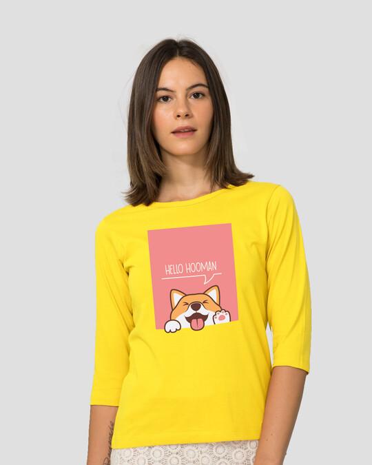 Shop Hello Hooman Round Neck 3/4 Sleeve T-Shirts Pineapple Yellow -Back