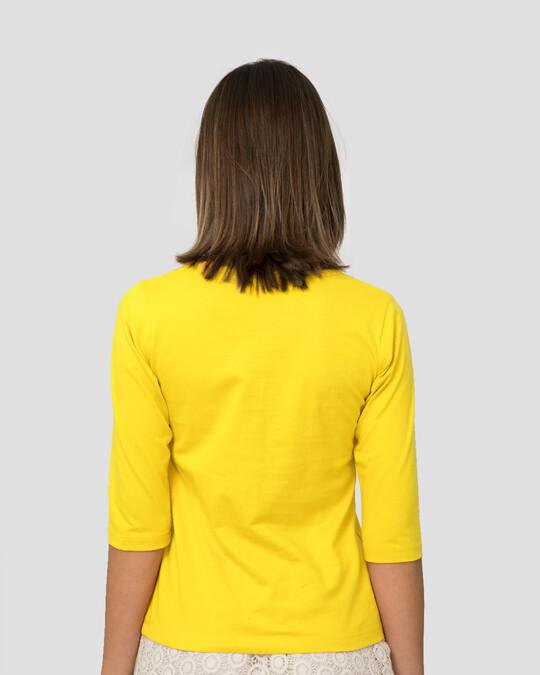 Shop Hello Hooman Round Neck 3/4 Sleeve T-Shirts Pineapple Yellow -Design