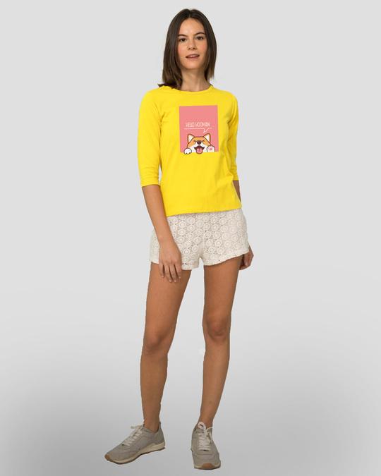 Shop Hello Hooman Round Neck 3/4 Sleeve T-Shirts Pineapple Yellow -Full