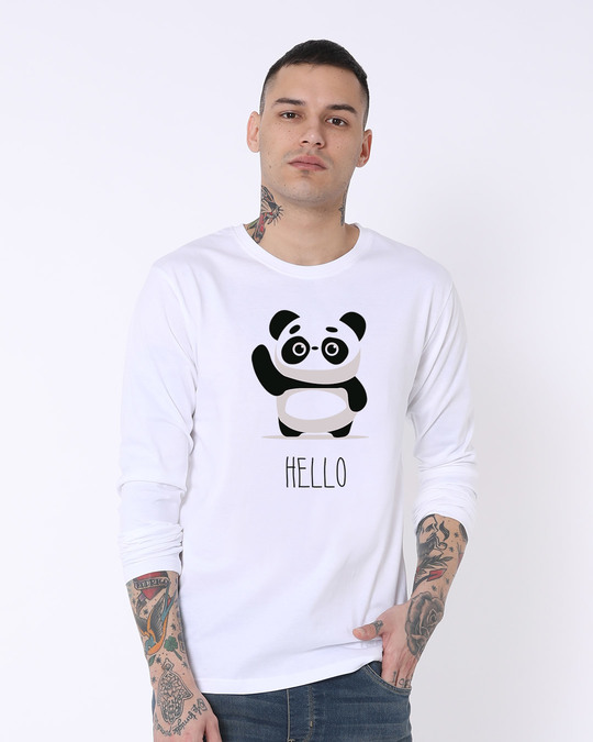 Shop Hello Panda Full Sleeve T-Shirt-Front