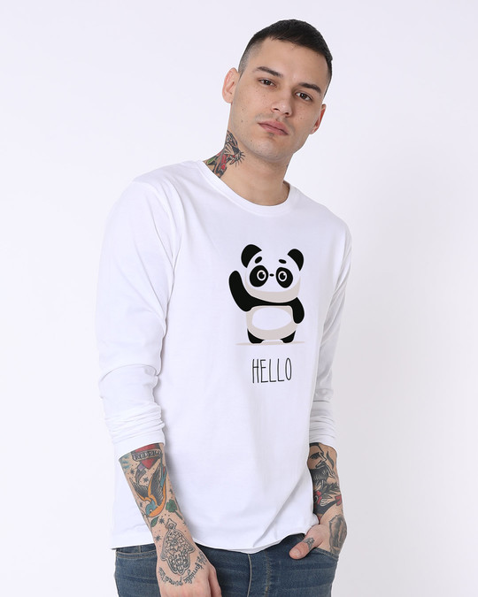 Shop Hello Panda Full Sleeve T-Shirt-Back