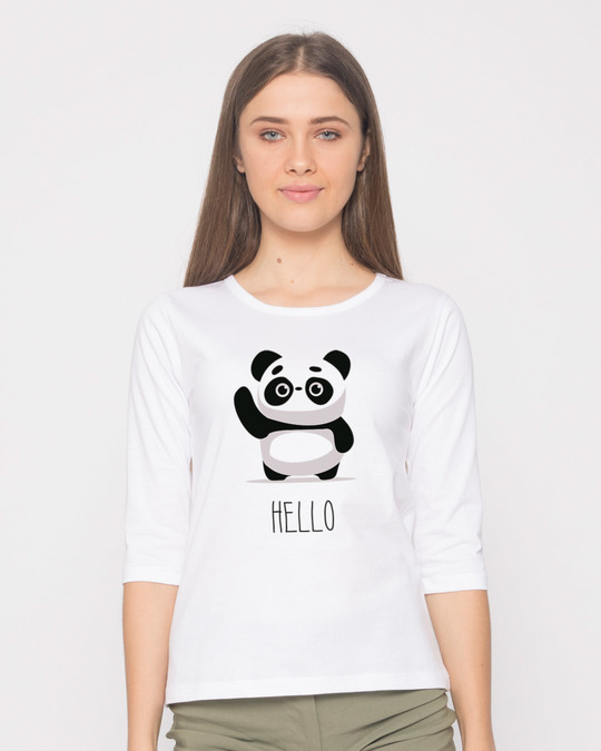 Shop Hello Panda Round Neck 3/4th Sleeve T-Shirt-Front