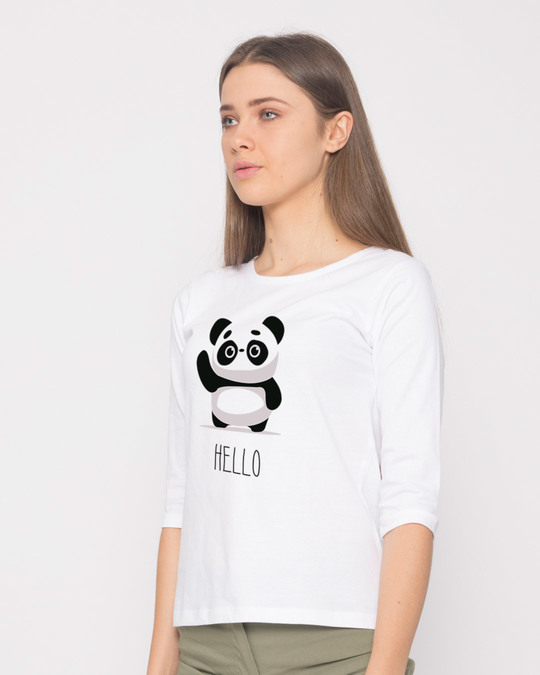 Shop Hello Panda Round Neck 3/4th Sleeve T-Shirt-Back