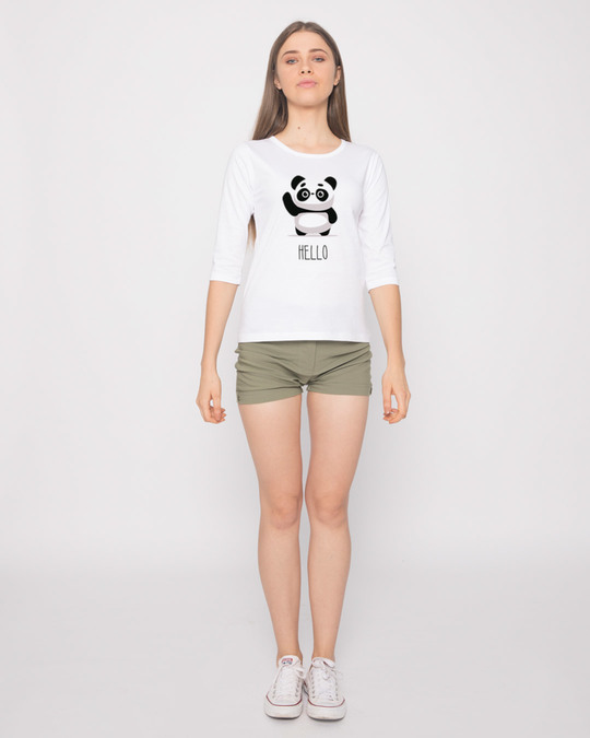 Shop Hello Panda Round Neck 3/4th Sleeve T-Shirt