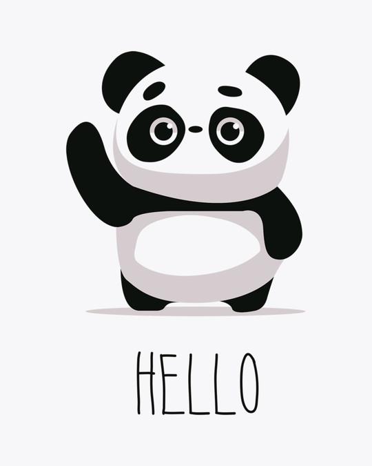 Shop Hello Panda Round Neck 3/4th Sleeve T-Shirt