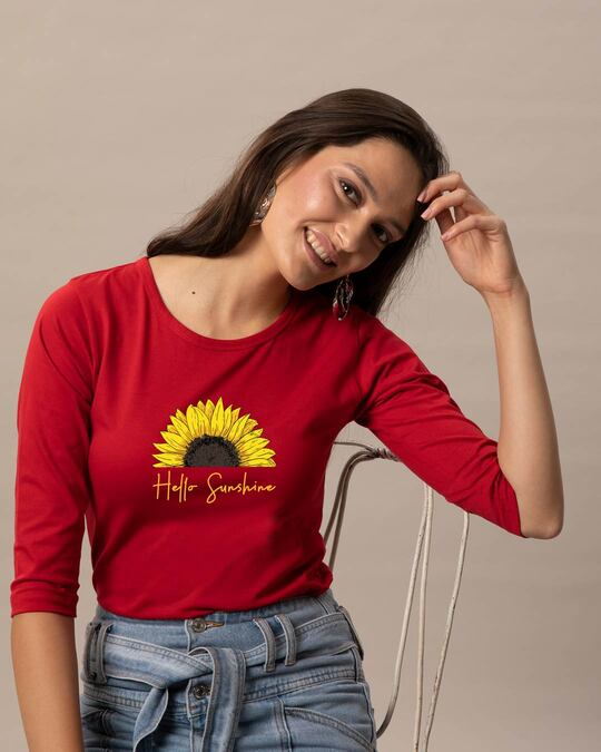 Shop Hello Sunshine Round Neck 3/4 Sleeve T-Shirts Bold Red-Front