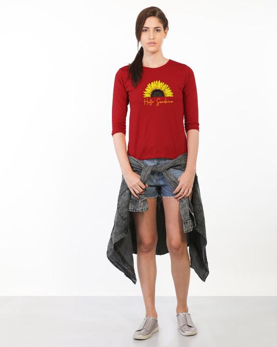 Shop Hello Sunshine Round Neck 3/4 Sleeve T-Shirts Bold Red