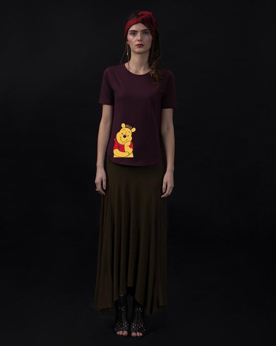 Shop Hellow Pooh Basic Round Hem T-Shirt (DL)-Full