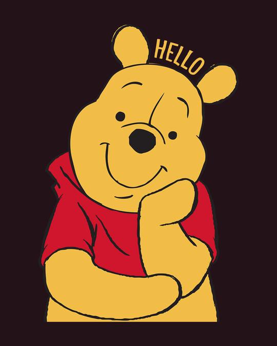 Shop Hellow Pooh Basic Round Hem T-Shirt (DL)