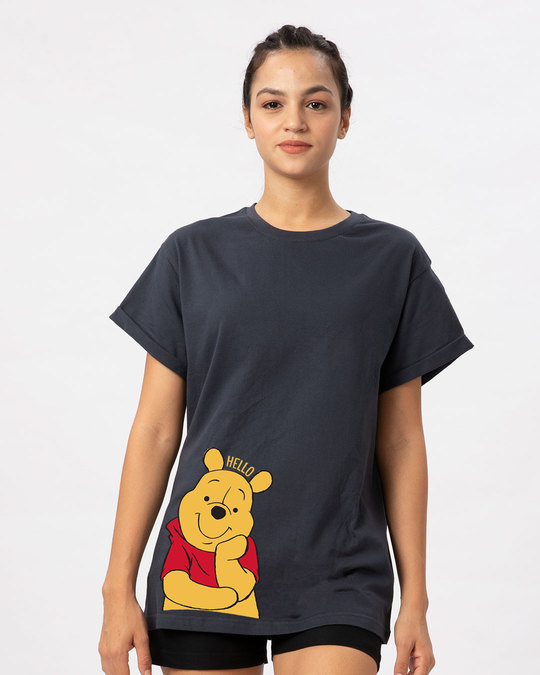 Shop Hellow Pooh Boyfriend T-Shirt (DL)-Front