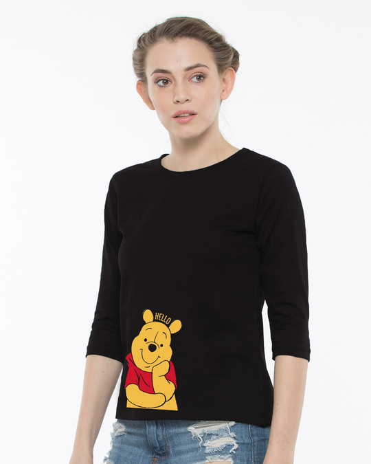 Shop Hellow Pooh Round Neck 3/4th Sleeve T-Shirt (DL)-Back