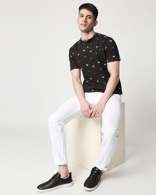 Shop Men Christmas Tree All Over Printed Half Sleeve Black T-shirt