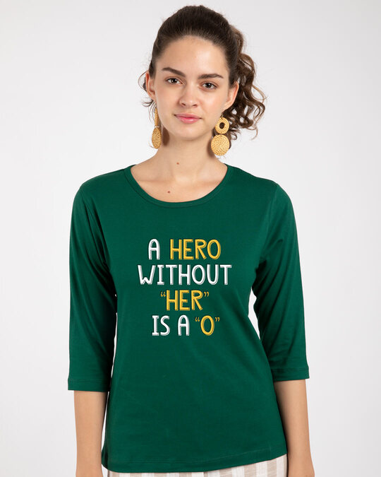 Shop Hero Round Neck 3/4th Sleeve T-Shirt-Front