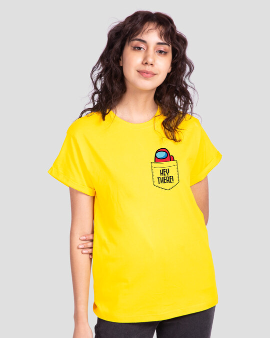 Shop Hey There Imposter Boyfriend T-Shirt Pineapple Yellow-Back