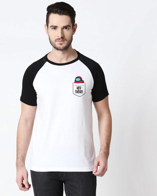 Shop Hey There Imposter Half Sleeve Raglan T-Shirt White-Black-Back