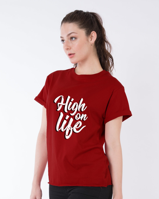 Shop High On Life Typography Boyfriend T-Shirt-Back