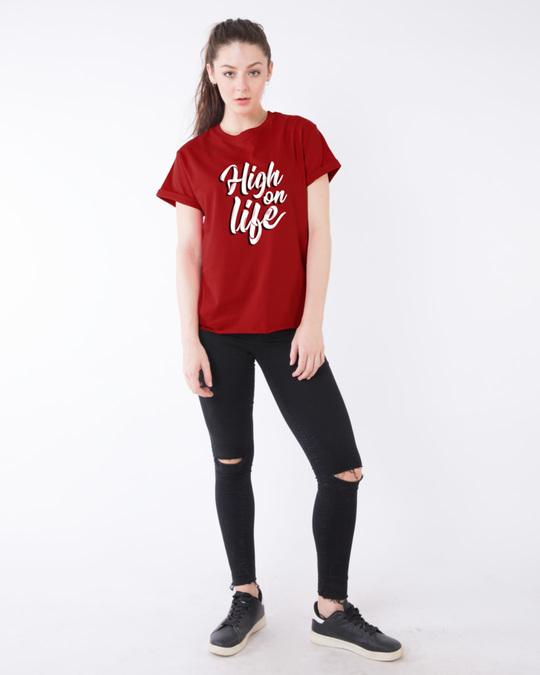 Shop High On Life Typography Boyfriend T-Shirt
