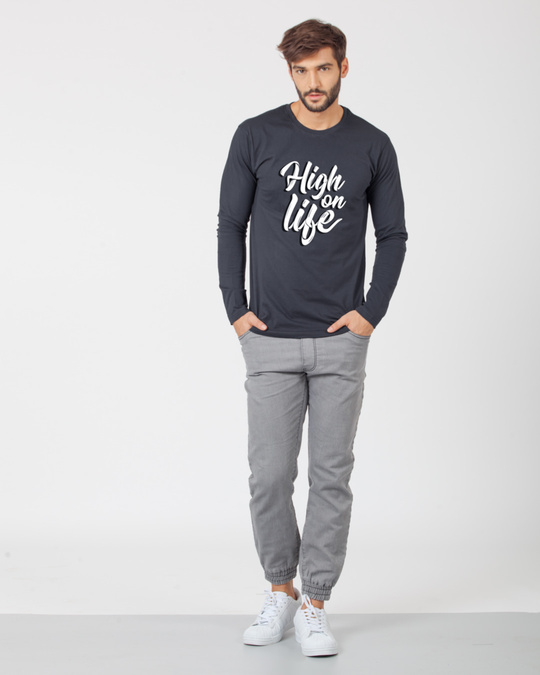 Shop High On Life Typography Full Sleeve T-Shirt