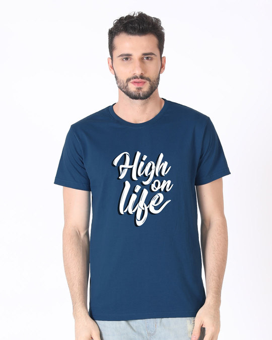 Shop High On Life Typography Half Sleeve T-Shirt-Back