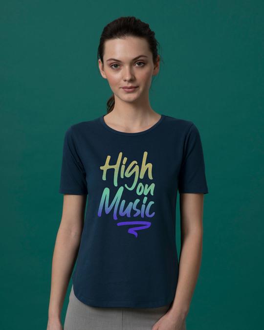 Shop High On Music Basic Round Hem T-Shirt-Front