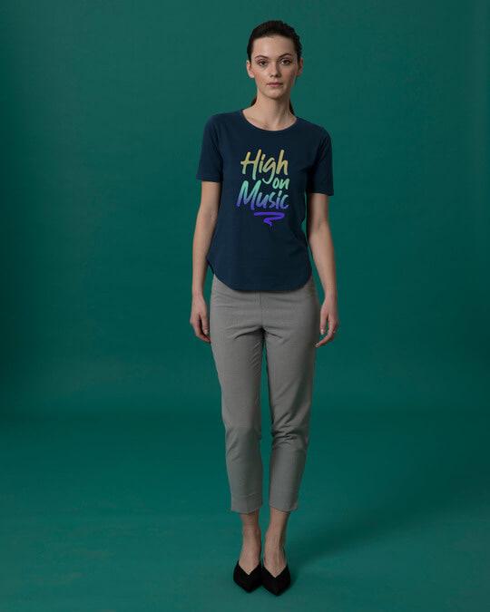 Shop High On Music Basic Round Hem T-Shirt