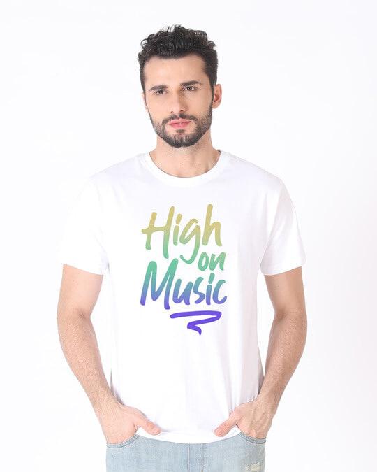 Shop High On Music Half Sleeve T-Shirt-Back
