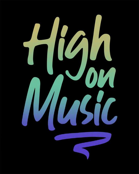 Shop High On Music Round Neck 3/4th Sleeve T-Shirt