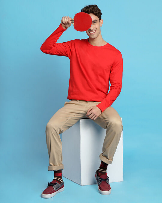 Shop Retro Red Full Sleeve T-Shirt-Front