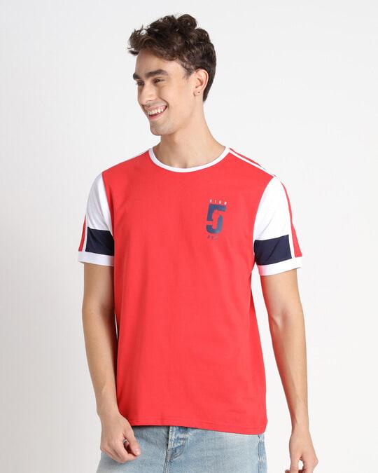 Shop Retro Red Sleeve Color Block T-Shirt-Back