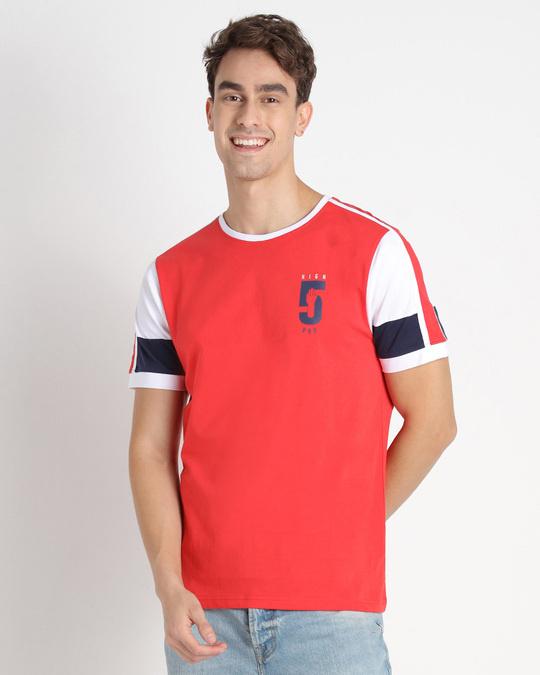 Shop Retro Red Sleeve Color Block T-Shirt-Design